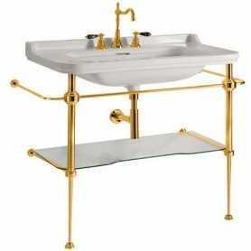Фото Консоль Kerasan Waldorf 9196 (цвет золото) с раковиной 4142