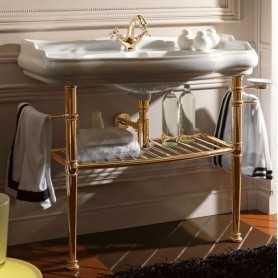 Фото Консоль Kerasan Retro 730091 (цвет золото) с раковиной 1050