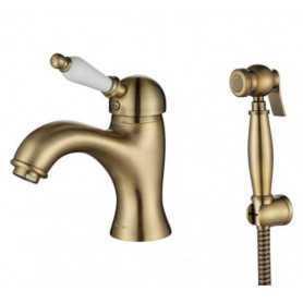 Фото Смеситель для раковины с гигиенической душем Aksy Bagno Biti 322-br цвет бронза