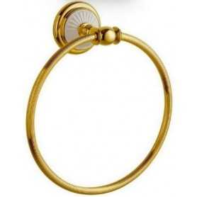 Фото Полотенцедержатель кольцо Bogeme Palazzo Bianco 10105 золото/белый