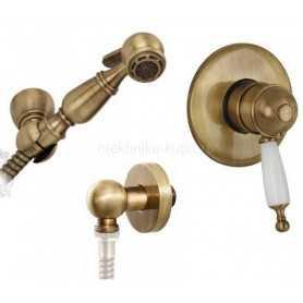 Гигиенический душ скрытого монтажа с термостатом Migliore Oxford Laura цвет бронза