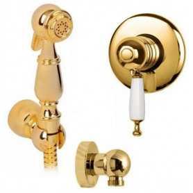 Гигиенический душ скрытого монтажа с термостатом Migliore Oxford Laura цвет золото