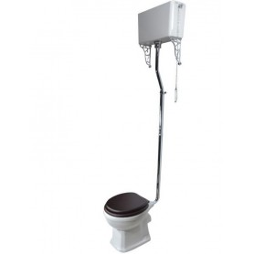 Унитаз Magliezza Retro на высокой трубе хром, сиденье орех (комплект)