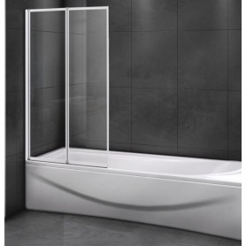 Шторка на ванну Cezares RELAX-V-2-80/140 профиль белый стекло прозрачное
