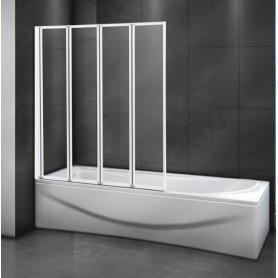 Шторка на ванну Cezares RELAX-V-4-90/140 профиль белый стекло прозрачное