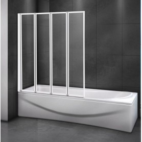 Шторка на ванну Cezares RELAX-V-4-100/140 профиль белый стекло прозрачное