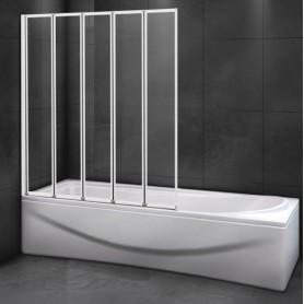 Шторка на ванну Cezares RELAX-V-5-120/140 профиль белый стекло матовое