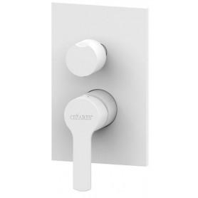 Смеситель для ванны и душа Cezares Ovest-DEV3-BIO белый матовый, скрытого монтажа