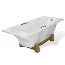 Ванна из литого мрамора Эстет Камелия 180x75 на деревянной подставки