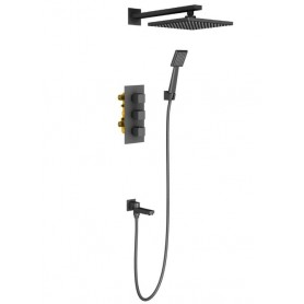Душевая система скрытого монтажа Timo Tetra-Thermo SX-0199/03SM с термостатом цвет чёрный